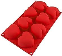 Molde de silicona con 8 orificios en forma decorazones para pasteles, muffins, cupcakes, color rojo