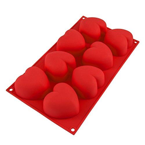 Silikonform mit Herzen, 8 große Herzen, Backform für Muffins oder Brownies, Party-Eiswürfel für Kreative, Bowle, Valentinstag, Liebe, Romantik, Kuchen, Pudding, Schokolade, Geschenkidee, Farbe:Rot