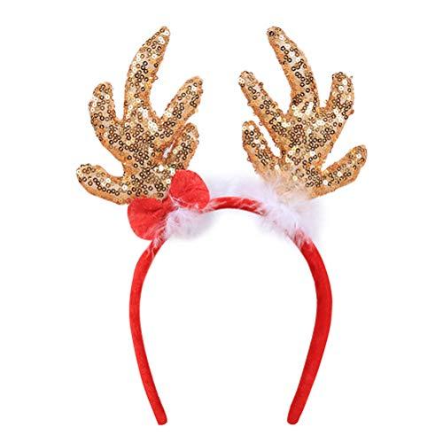 Amosfun Rentier Geweih Stirnbänder Pailletten Schneeflocke Weihnachten Kostüm Zubehör dekorative Haarbänder Kopfschmuck Party Favors (Golden)