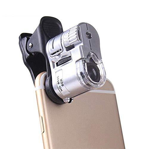 Wangzhefengfan Microscopio Tascabile Portatile 60 X Occhialino per microscopi per ispezione di Gioielli (1 luci a LED, 1 Lampada per rivelatore UV) Lupe