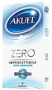 Akuel Zero, Preservativi Sottili Extra Lubrificati, 6 Pezzi