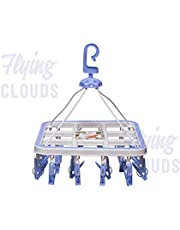 RJ Rojeno Plastic Cloth Drying Stand Hanger with 24 Clips/pegs, Baby Clothes Hanger Stand, Blue or Pink, Set of 1