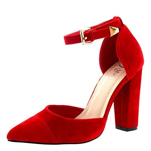 Mujer Dedo Puntiagudo Oficina Zapatos Talón De Bloque Correa De Tobillo Alto Heel Sandalia - Rojo - UK6/EU39 - KL0108