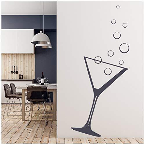 azutura Cocktailglas Wandtattoo Martini-Glas Wand Sticker Küchenbar Wohnkultur verfügbar in 5 Größen und 25 Farben X-Groß Licht Orange
