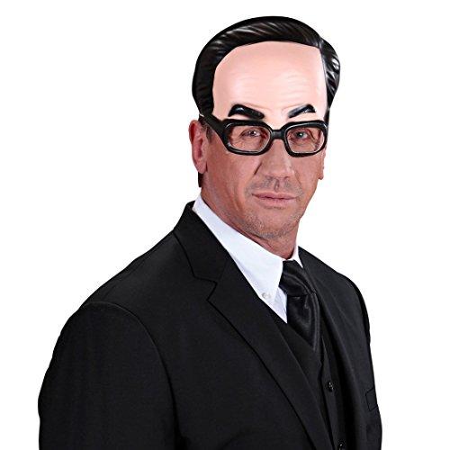 NET TOYS Kinnlose Maske Mann mit Brille Halbmaske Herr Gesichtsmaske Halbglatze Faschingsmaske Er Brillenmaske Scherz Karnevalsmaske