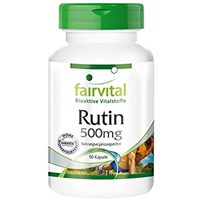 Fairvital - Rutin 500mg - Sophora Japonica Extract (Bud; Contains 95% Rutin) - 90 Vegetarian Capsules