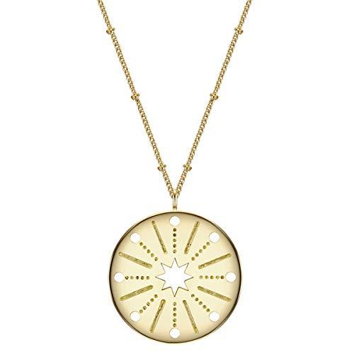 Glanzstücke München Damen-Kette mit Anhänger Sterne Sterling Silber gelbvergoldet 50 + 5 cm - Modern-Kette gelb-gold mit rundem Anhänger Stern Silber-Kette mit Symbol