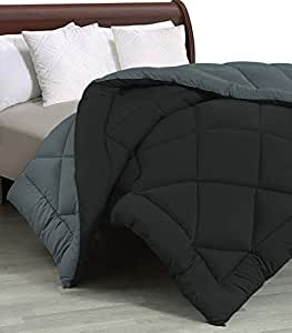 """Cloth Fusion Pacifier 2nd Generation 200GSM Microfiber Reversible AC Comforter for Single Bed - (60""""x90"""") Inches, Black & Grey"""