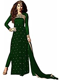 Dealbazaars Festival Mega Sale Offer Green Georgette Embroidered Semi Stitched Straight Salwar Suit With Dupatta