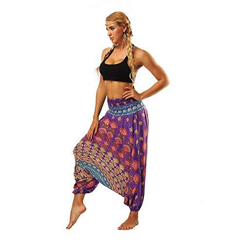 Lila Hippie Oder Disco Kostüm Hosen - WUSIKY Haremshose Damen Sommerhose Damen Leicht