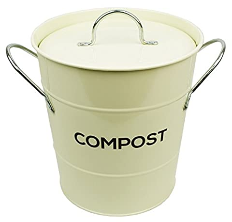 Cream Metal Kitchen Compost Caddy - Composting Bin for Food Waste Recycling