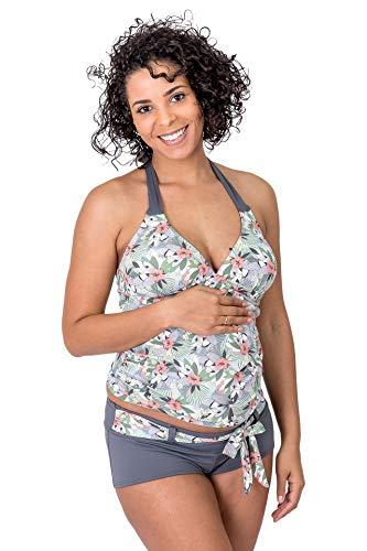 Petit Amour Umstands-Tankini Schwangerschafts-Bikini TUKINI ♥ Badeanzug Bademode Set Oberteil Unterteil ♥ grau Mehrfarbig ♥ Cup B bis D ♥ Gr. S