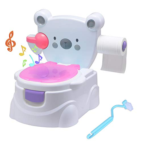 Voilamart Toilettentrainer mit Musik Kidskit Kindertopf Töpfchen Kindertoilette Kindertopf Kindertopf Lerntöpfchen,Ab ca. 6 Monate (Rosa)
