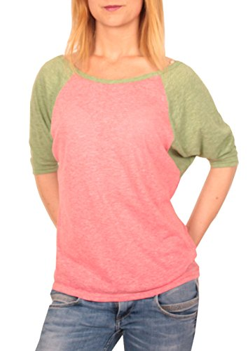 Ella Manue Damen Frauen Baseball Raglan Halbarm Shirt Jacky, Größe: L, Farbe: Pink