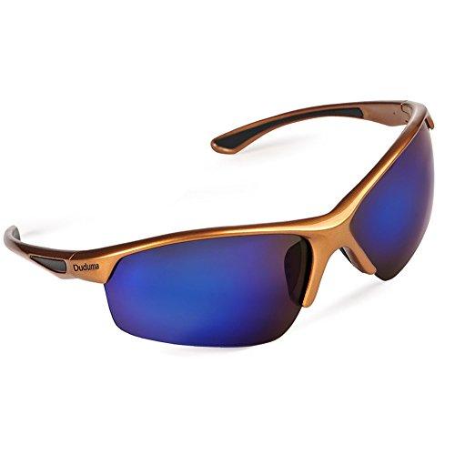 Duduma Gafas de Sol Deportivas Polarizadas Para Hombre Perfectas Para Esquiar Golf Correr Ciclismo TR58 Súper Liviana Para Hombre y Para Mujer (marco de oro con lente azul)