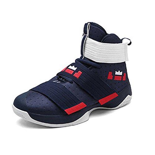 Largeshop Herren Jungen Basketballschuhe Hohe Sneakers Atmungsaktiv Ausbildung Outdoor Freizeit Sport Turnschuhe, Tiefblau, 43 EU