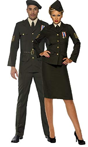 Paare Damen & Herren Krieges Officer 2. Weltkrieg World War historischen Army Military Uniform Passende Fancy Dress Kostüm Outfits (Weltkrieg 2 Kostüm Für Damen)