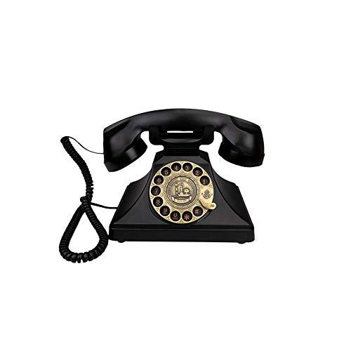 Wählscheibe Telefon, Vintage Old Fashioned Festnetztelefone mit klassischer Metallglocke Handfree und Wahlwiederholung für Home Office Bar Dekoration