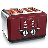 Arendo - Automatik Toaster 4 Scheiben - Edelstahlgehäuse - bis zu vier Sandwich und Toast Scheiben - Bräunungsgrad 1 bis 6 - Aufwärm und Auftaufunktion -Krümelschublade - GS zertifiziert - rot