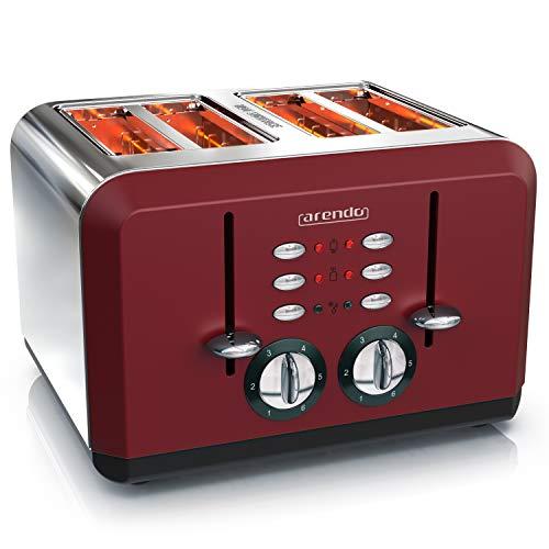 Arendo - Automatik Toaster 4 Scheiben | Edelstahlgehäuse | bis zu vier Sandwich und Toast-Scheiben | Bräunungsgrad 1-6 | Aufwärm- und Auftaufunktion | Krümelschublade | GS-zertifiziert | rot
