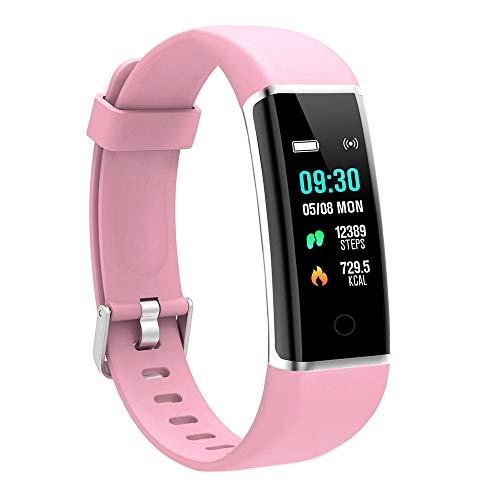 moreFit Fitness Armband Kinder, Wasserdicht IP67 GPS Fitness Tracker Farbbildschirm Aktivitätstracker Schrittzähler Uhr mit Stoppuhren Vibrationsalarm Anruf SMS Beachten für Damen Herren Kinder, Rosa