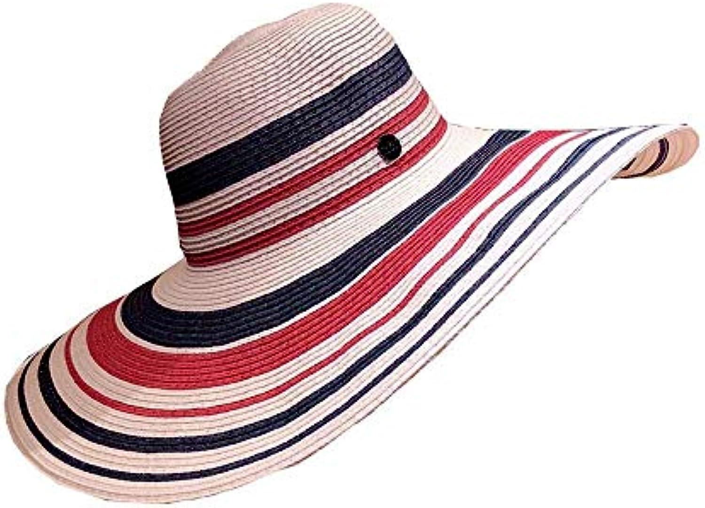 Oudan Cappello di di Cappello Paglia a Righe Coloreeate Block Cappello a  Tesa Larga per Donne d09b65bc4106