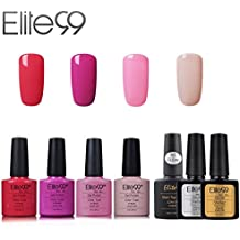 Elite99 Esmalte de Uñas Semipermanente Uñas de Gel UV LED Kit de Manicura 7pcs con Base Coat Top Coat de Brillo y Top Coat de Mate Pintauñas Soak off - Kit 020