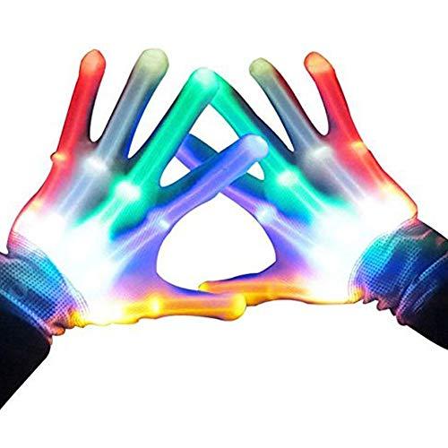 DMbaby Spielzeug ab 6-10 Jahre, geburtstagsgeschenk für kinder LED Blinklicht Bunte Rave Handschuhe G05