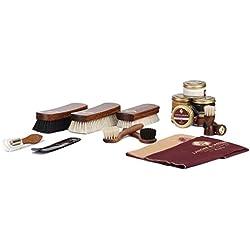 Langer & Messmer set de 17 pièces pour lŽentretien e le soin professionnel de vos chaussures contenant crèmes de cirage et brosses à chaussures haut de gamme en crin de cheval et poils de chèvre