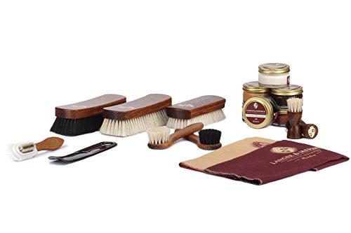 Langer & Messmer 17-teiliges Schuhpflegeset inkl. Lederpflegecremes und hochwertigen Schuhbürsten aus Rosshaar und Ziegenhaar - das Schuhputzset für die professionelle Schuhpflege