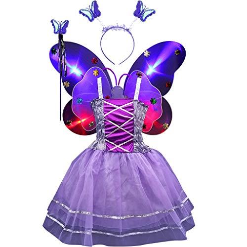 Pennyninis 4-teiliges Feenkostüm-Set für Mädchen, ärmellos, langes Tutu-Kleid mit LEDs, doppelschichtig, Schmetterlingsflügel, Zauberstab, Haarband, Party, Alter 3-10 Jahre Gr. One size, 6 -