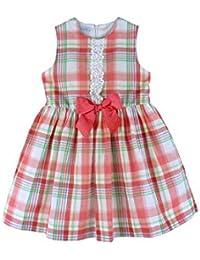 cc75a29d4 Foque - Vestido de Cuadros para niña. Sin Mangas. Cuadros en Colores Vivos  Coral, Verde y Blanco. Adornado con puntilla y Lazo.