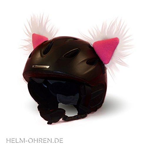 Skihelm Ohren - Helm -Ohren für den Skihelm, Snowboardhelm Fellohren Skihase Weiß - Pink -...