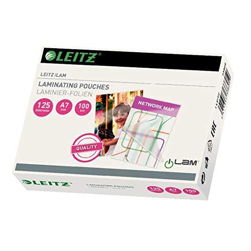 Leitz Heißlaminierfolien, Glänzend, transparent, A7, Folienstärke 125 mic, 100er Pack, 33805
