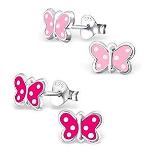 2 Paar Kinder Ohrringe 925 Silber Mädchen Ohrstecker Schmetterling Pink und Rosa