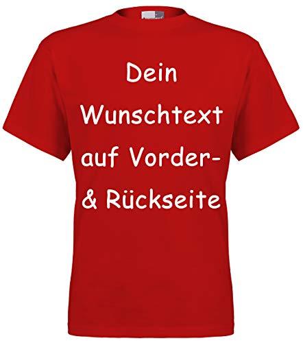 Marken T-Shirt mit Wunschtext - Front- und Rückenprint - Rot M - Sprüche indivduell auf Das T-Shirt Drucken Lassen | Personalisierter Textildruck -