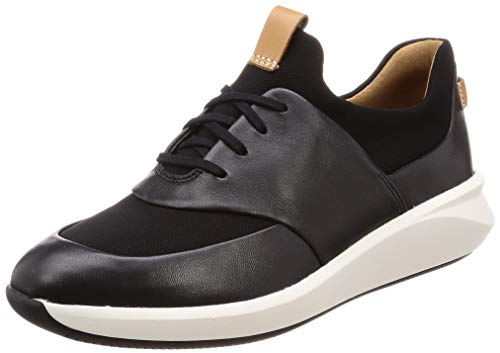 Clarks Women's Un Rio Lace Low Top Sneakers, Black Leather 4 UK
