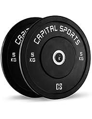 Capital Sports Inval Competition Bumper Plates discos de pesas 5 kg (centro de aluminio,