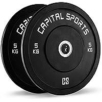 Capital Sports Inval Competition Bumper Plates discos de pesas 5 kg (centro de aluminio, apertura de 50,4 mm, para barras largas y olímpicas, revestimiento de goma negra)