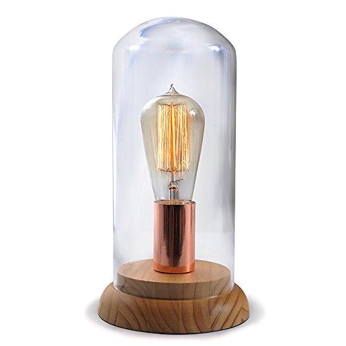 uus Lampe de table Chêne verre chambre lampe de chevet E27 ampoule base 15 * 29cm (économie d'énergie A +) (taille : 15 * 29cm)