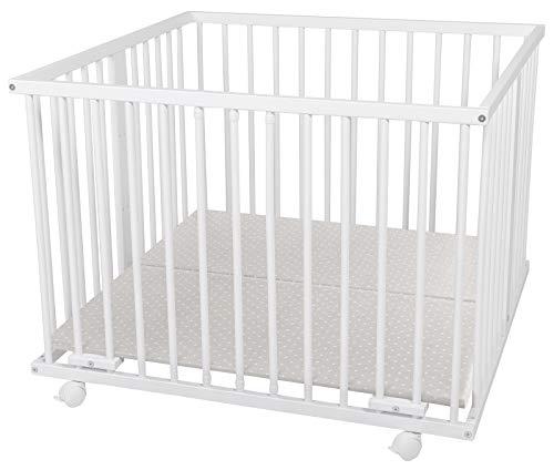 WALDIN Baby Laufgitter Laufstall ca. 100x100 BUCHE MASSIV, höhen-verstellbar, 2 Modelle wählbar,Buche Massiv-Holz, weiß lackiert