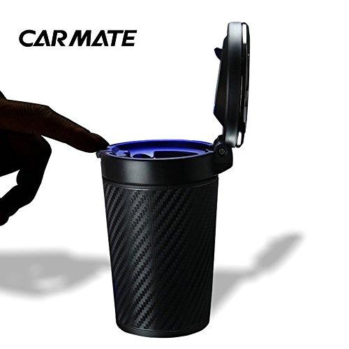 Dailyinshop CAR MATE Multifunktionale Auto Aschenbecher rauchfrei mit LED-Leuchten Solar Powered (Farbe: Schwarz)