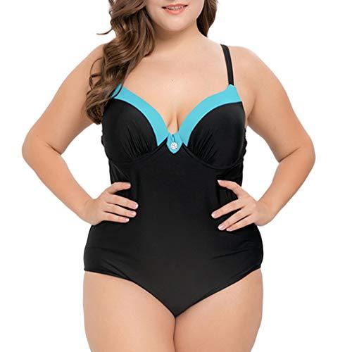 Moserian Damen Casual Plus Size Maschen Multicolor Bikini Einteiliger Badeanzug