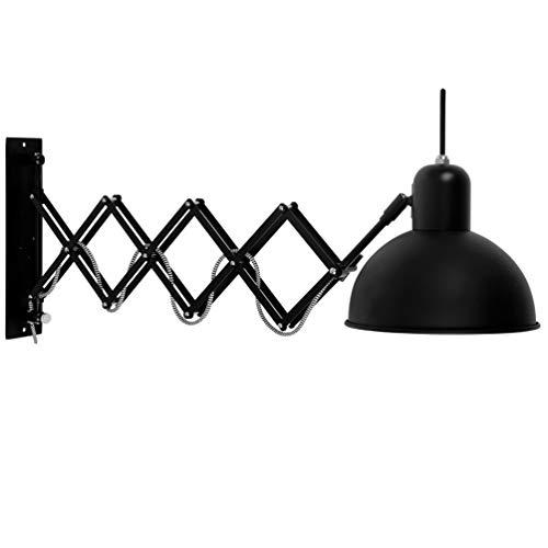 Vintage Wandlampe Metall Verstellbare Flexible Leselampe Wandlampe Retro Industrial Wandleuchte aus Schwarz Erweiterbar Innen Wandlampe E27 für Schlafzimmer Wohnzimmer Arbeiten Büro Flur Buch Computer -
