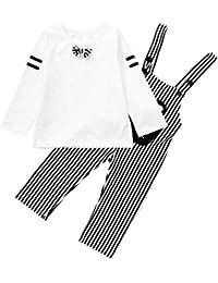 SamMoSon ☀☀Camisas para Bebés Niño,Infant Baby Boy Kids Dibujos Animados Bow Tops + Stripe Guardapolvos Ropa Conjuntos Traje