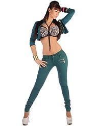 Damen Skinny Röhrenjeans Röhren Jeans Hose Röhre Blau Rot Grün XS 34 - Xl 42