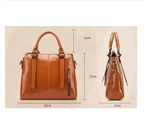 MYLL Europa Und Die Vereinigten Staaten Damen Große Kapazitäts-Paket-Öl-Wachs-Leder-Handtaschen Mode Weibliche Umhängetasche Blue
