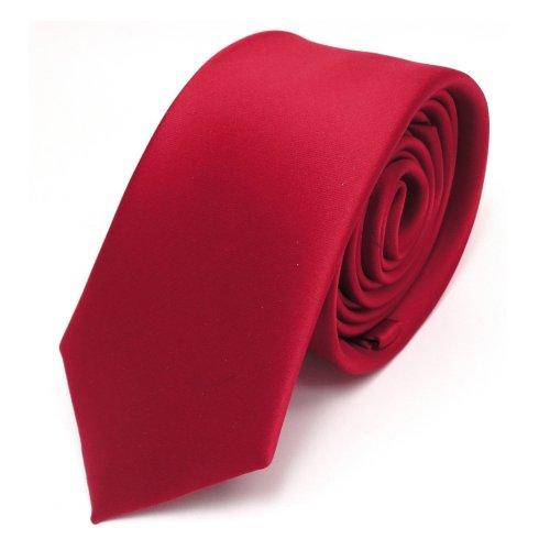 TigerTie schmale Satin Krawatte in rot verkehrsrot einfarbig uni