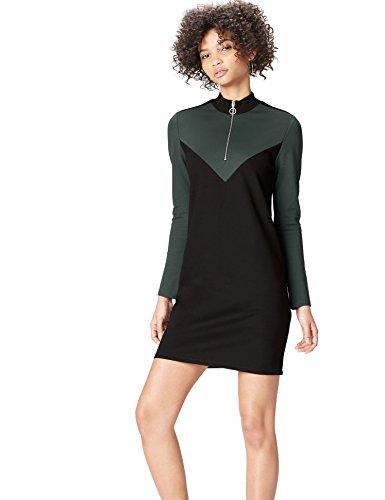 FIND Kleid Damen mit Reißverschluss, Colour Blocking, Langen Ärmeln und Stehkragen, Schwarz, 34...