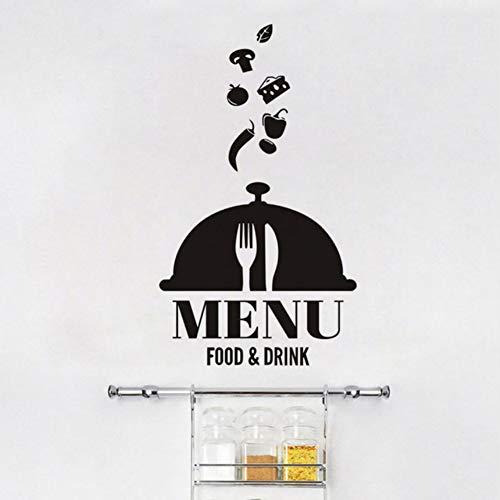 hjcmhjc Menú De Comida Y Bebida Pvc Autoadhesivo Empapelado Restaurante Cafe Restaurante Cocina Etiqueta De La Pared Grande Decoración Para El Hogar 58 * 68 Cm